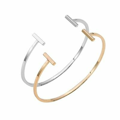 -UK- Silver Plated Summer Style Double Bar Women Bracelets Bangles with Gift Bag