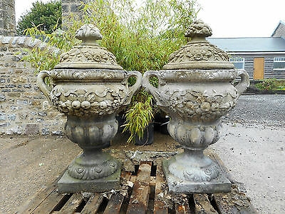 Pair of large ornate Stone Urns