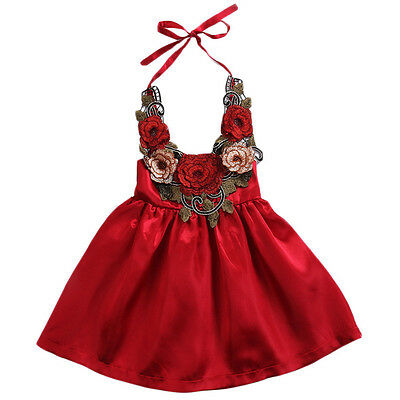 Newborn Infant Baby Girls Party 3D Flowers Dress Sundress Outfits Clothes 6-12M