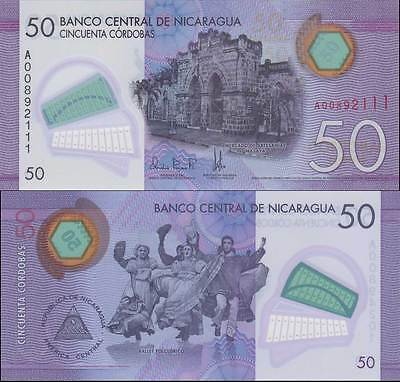 Nicaragua 50 Cordobas 2014 / 2015 Polymer P 212 New Unc Banknote Nr