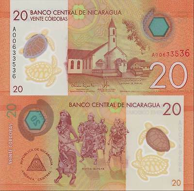 Nicaragua 20 Cordobas 2014 2015 Polymer P New Unc Banknote Nr