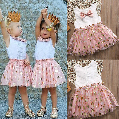 Toddler Kids Baby Girls Princess Party Dresses Tutu Sequins Bow Dress 2-3Y M04