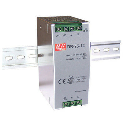 Mean Well DR-75-12 75W 85-264VAC 12VDC / 6.3A on DIN Rail TS-35/7.5 or 15