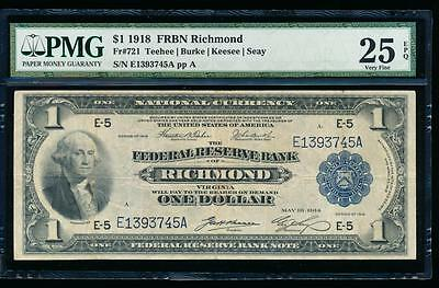 AC Fr 721 1918 $1 FRBN Richmond PMG 25 EPQ spread eagle!