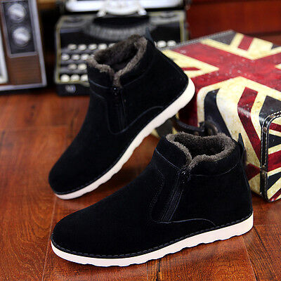 Winter men Ankle Boots Slip On Zip Casual High Top Thicken Keep Warm Snow Shoes