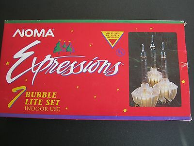 Noma 'Expressions' 7 Bubble Lite Set Indoor use. Over 7Ft Christmas Lights NIB.