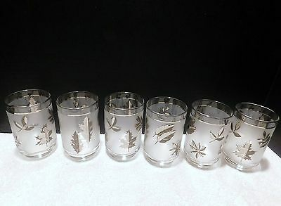 Vintage Libbey Glass Silver Leaf 6 - 12 Oz Clear Rim Tumblers Mint Cond Barware