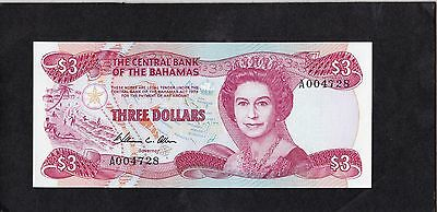 1 NOTE $3 1984 BAHAMAS GEM UNC .. combined shipping @