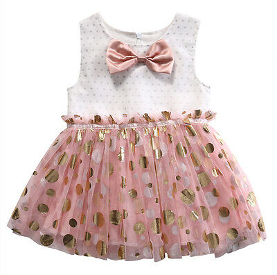 Toddler Kids Baby Girls Princess Party Dresses Tutu Sequins Bow Dress 2-3Y M05