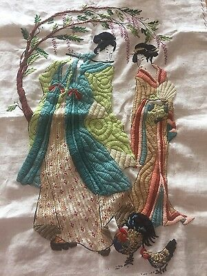 japaneese hand sewn tapestry antique Unique