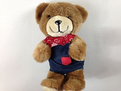 "Trudy Teddy Bear VTG 1983 Plush 10"" Stuffed 80s Overalls Bandana Scarf Carolina"