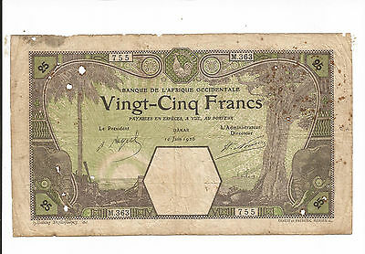 French West Africa., 25 francs. 1926. LARGE NOTE.!!!