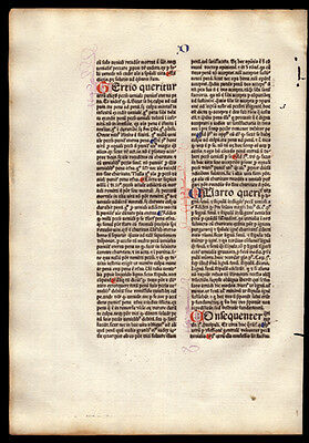 Commentary on  Sentences of Peter Lombard 1477 Incunable Leaf Bishop of Paris