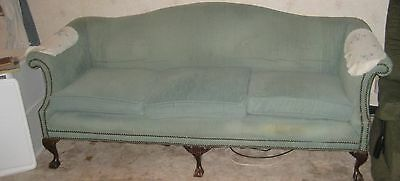 chippendale style couch blue velvet-like upholstery