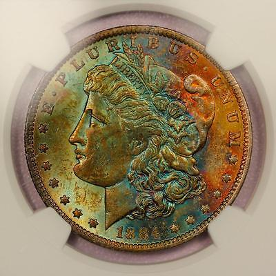 1884-O Morgan Silver Dollar *NGC MS63* Vibrant Rainbow Toning