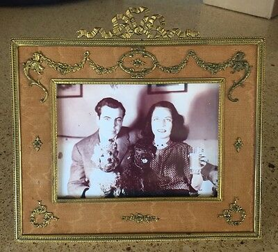 French antique Gilt Bronze Silk Square Picture Frame