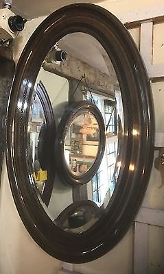 ANTIQUE VICTORIAN 19thC   LARGE Oval  WALL MIRROR