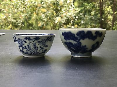 Lot Two Chinese Antique Porcelain Blue And White Tea Cups