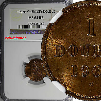 Guernsey Bronze 1902H 1 Double NGC MS64 RB Nice Red Toning Mintage-84,000 KM# 10