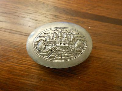 Gorgeous Vintage Pill Box Or Snuff Box  Beautiful City Pattern  1900 Stamped