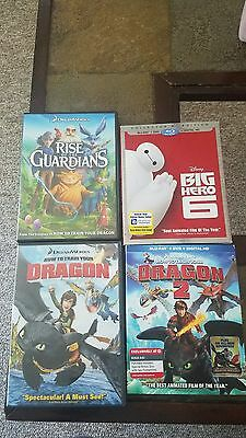 Big Hero 6, How To Train Your Dragon 1 and 2, Rise of the Guardians