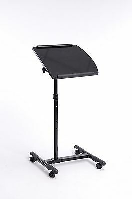 Black Finish Mobile Laptop Computer Stand w/ Adjustable Tiltable Top with Wheels