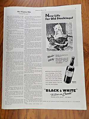 1943 Black White Scottish Scotty Terrier Westie Ad  Blackie Whitey Old Stockings