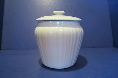 """Corning Ware Table Ware White Ribbed 8"""" Canister/Cookie Jar With Lid"""