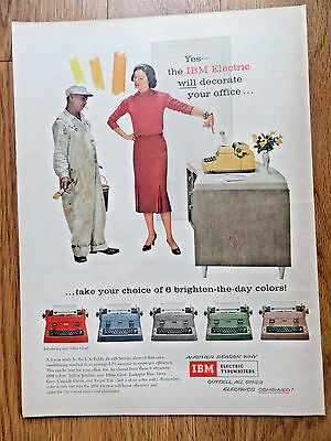 1956 IBM Electric Typewriter Ad Yes The IBM Electric Will Decorate your Office