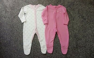 NEW Girls x2 SLEEPSUITS Age 3-6 months