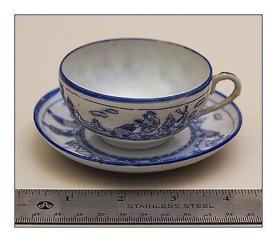 Antique Japanese, Blue on White Hand Painted, Porcelain Tea Cup and Saucer