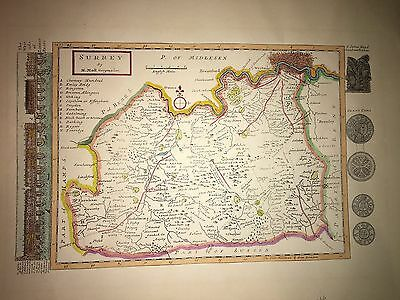 Historic hand-coloured H Moll map of 17th Century Surrey, England