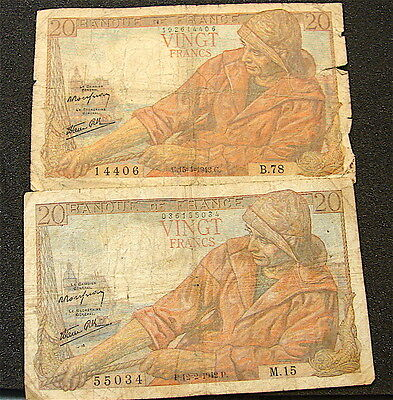 1942----France---2 French 20 Francs Currency Notes---heavily circulated