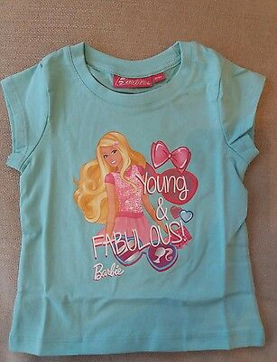Bnwt Aqua Barbie Top T-Shirt 92 Cms Age 2 Years Girls Clothes