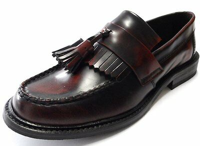 Mens Shoes Oxblood Tassel Loafers  60s 70s Mod  Suedehead Style  by IKON - NEW