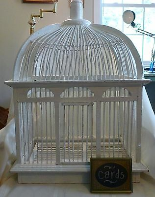 Large ANTIQUE BIRD CAGE Wood VICTORIAN White Wedding Cards