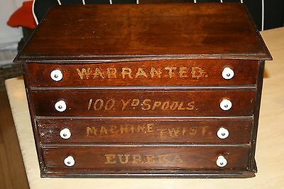 Antique Eureka Four Drawer Spool/ Thread Cabinet