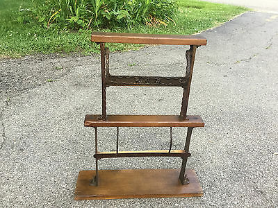 Antique Vintage Wood Cast Iron Butchers Wrapping Paper Roll 2 Station Dispenser