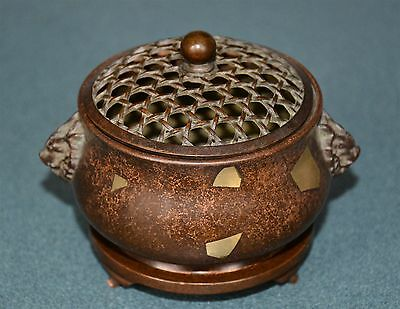 Delicate Chinese Bronze Incense Burner Marked Rare T9724 Nz9839