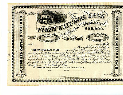 18XX Unissued Certificate of the First National Bank at Lodi Ohio