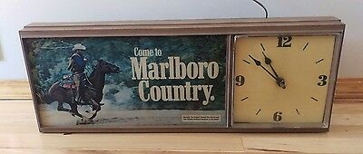 1980's Lighted Come To Marlboro Country  Wall Clock Sign