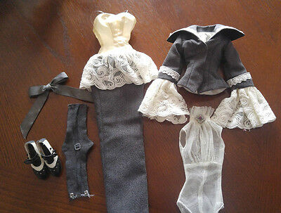 Evangeline Ghastly  Outfit - 'dead Silent' - Grey Suit With A Lacy Trim - Pretty