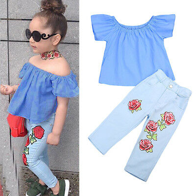 Kid Baby Girl Off Shoulder Shirt T-shirt Tops+Pants Jeans Clothes 2-3Year UU