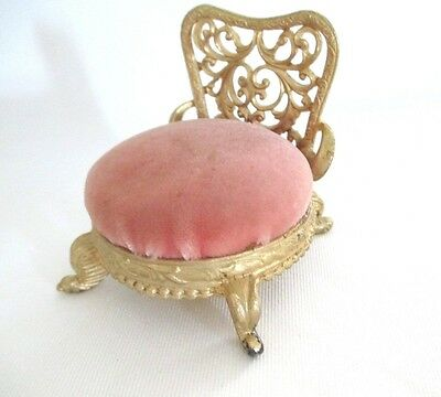 VTG SF SAM FINK Gold Cast Metal Ornate Chair PIN CUSHION pink velvet seat