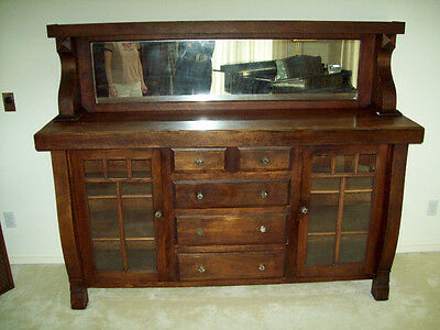 Antique Oak Sideboard Buffet W/ Mirror Top 1920 Primitive Cabinet Oak Wood Hutch