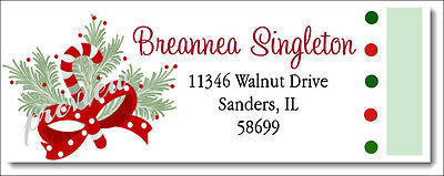 Christmas Holiday Candy Cane  #309 - Laser Printed Return Address Labels