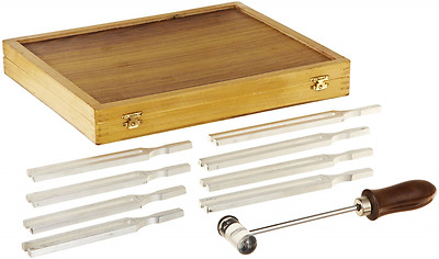 United Scientific TFBOX8 Tuning Fork Wooden Box Set With Mallet, 8 Fork