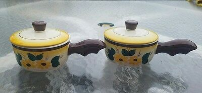 "Vintage Vernon Kilns ""brown-Eyed Susan"" Handled  Soup Bowls With Lids, Lot Of 2"