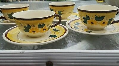 Vernon Kilns Brown Eyed Susan Cup and Saucer Set of 4