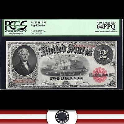 1917 $2 Legal Tender UNITED STATES NOTE Two Dollar Fr 60 PCGS 64 PPQ  A60383740A